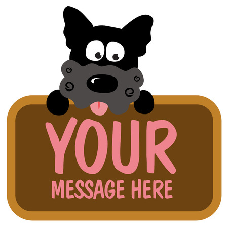 Isolated dog holding sign Illustration