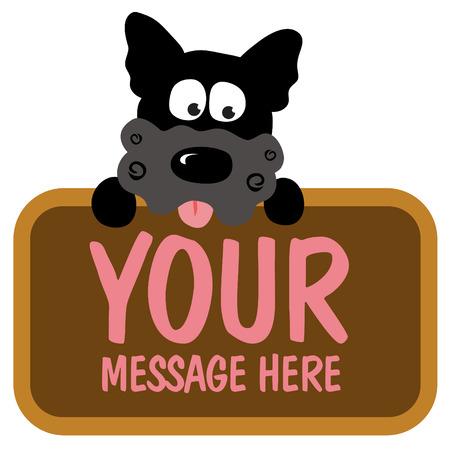 promote: Isolated dog holding sign Illustration