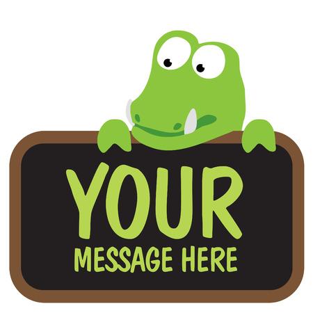 Isolated alligator holding sign 일러스트