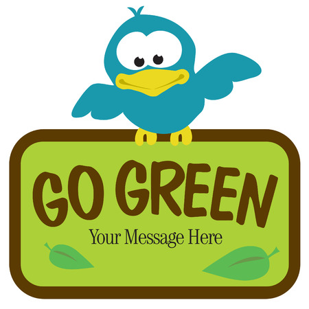 Isolated bird holding sign Vector
