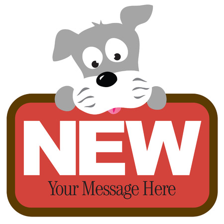 Isolated schnauzer holding sign Vector