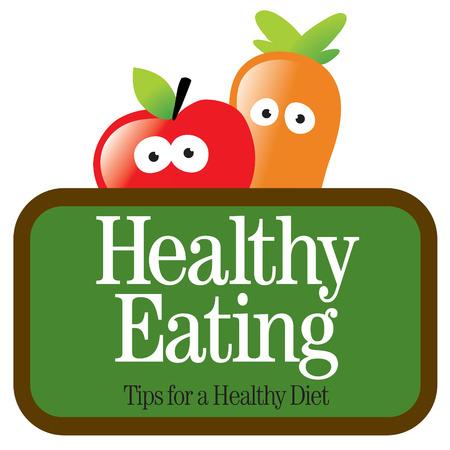 punta: Isolata mela e carota con segno Vettoriali
