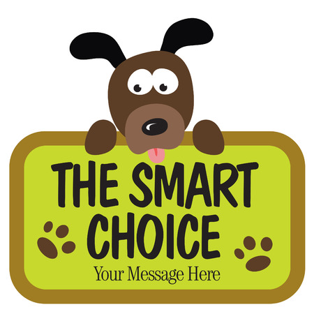 dog tag: Isolated dog holding sign Illustration