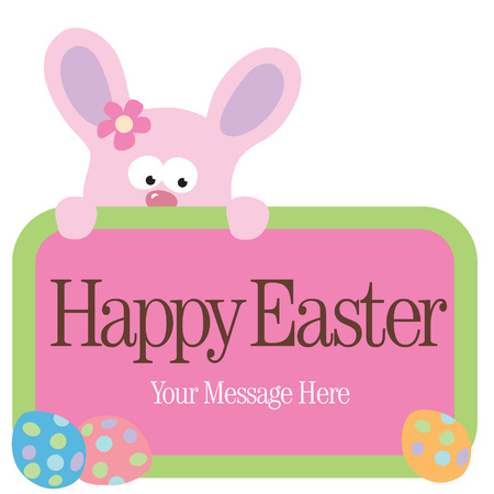 Isolated Easter Bunny holding sign Illustration