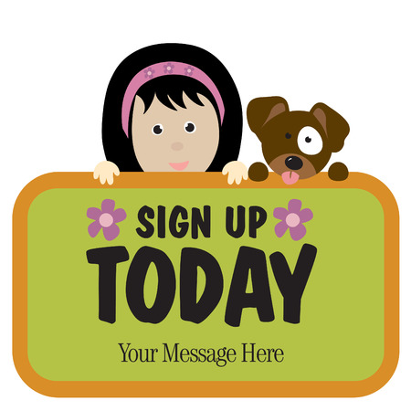 Isolated girl and dog holding sign Vector