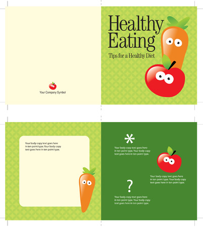 mailer: 5x10 brochure template (folds to 5x5, includes cropmarks, bleeds, and fold marks) Illustration