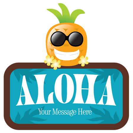 Geïsoleerde ananas met teken Stock Illustratie