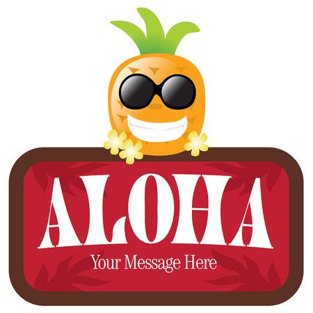 aloha: Isolierte Ananas mit Zeichen