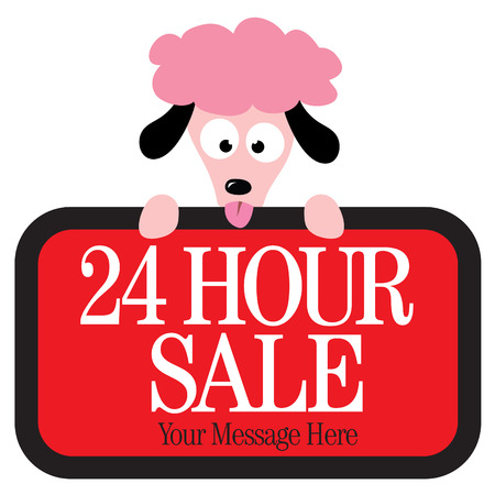 Isolated poodle holding sign Vector