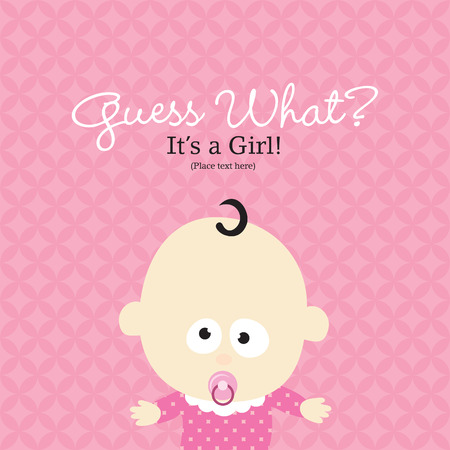 Baby Girl Announcement Card Ilustracja