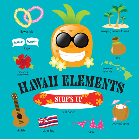 aloha: Hawaii Elements Vector Set
