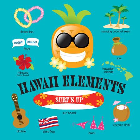 kauai: Hawaii Elements Vector Set