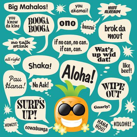 Various phrases in comic bubbles (hawaiian pineapple)