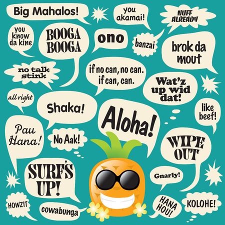 phrases: Various phrases in comic bubbles (hawaiian pineapple)