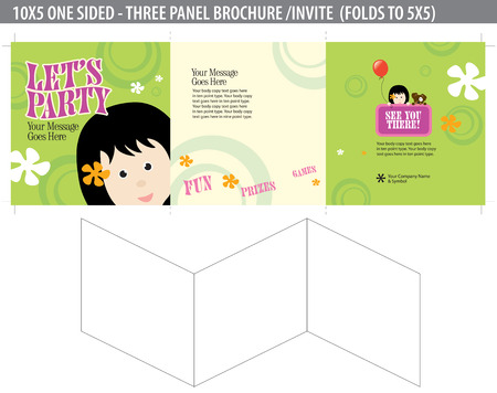 Lets Party Invitebrochure (folds down to 5x5 - cropmarks bleeds included) Vector