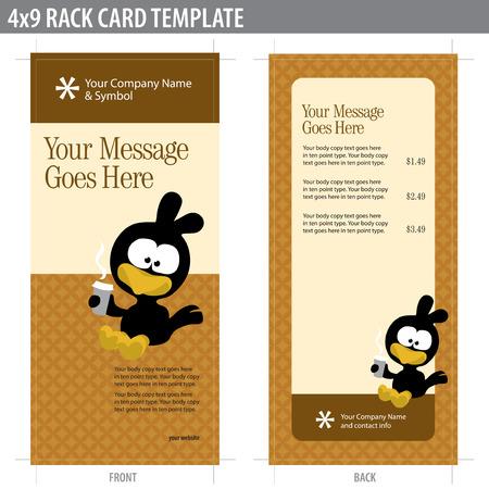4x9 Twee Sided Rack Card (inclusief bijsnijdmarkeringen, bloedingen en belangrijke lijn - elementen in lagen) Stock Illustratie