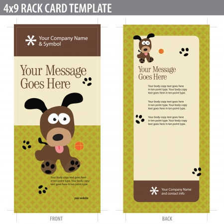 4x9 Two Sided Rack Card (includes crop marks, bleeds and key line - elements in layers) Vector