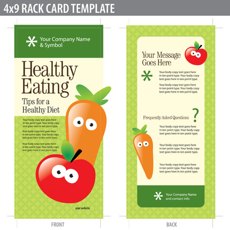 4x9 Two Sided Rack Card (includes crop marks, bleeds and key line - elements in layers) Векторная Иллюстрация