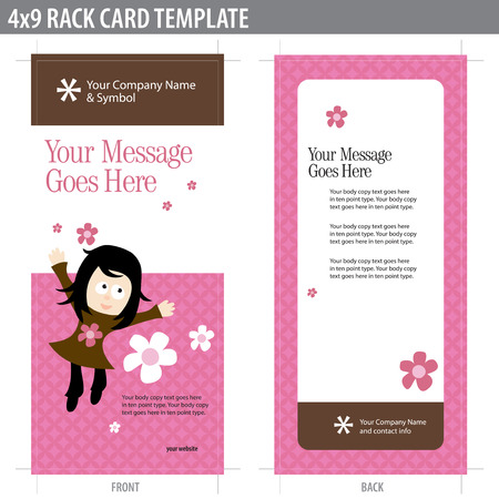 girls back to back: 4x9 Two Sided Rack Card (includes crop marks, bleeds and key line - elements in layers)