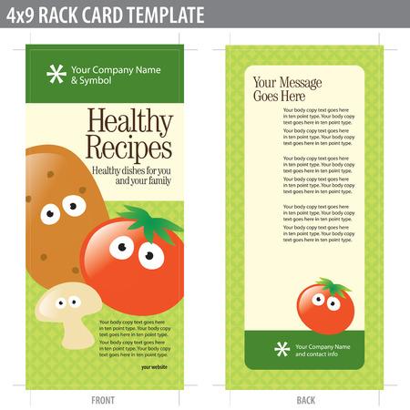 4x9 양면 랙 카드 (자르기 표시, 재단 물림 및 키 라인 - 레이어 요소 포함) 스톡 콘텐츠 - 4658368