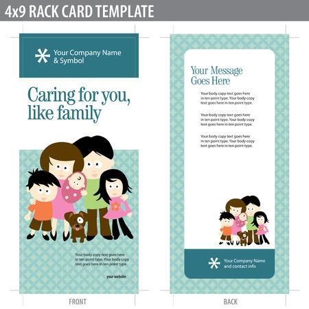 4x9 due lati Rack Card (include ritaglio, sanguina e tasto linea - gli elementi in strati)