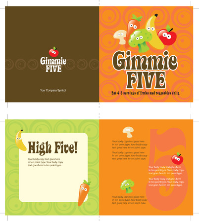 5x10 brochure template w 70s style background (folds to 5x5, includes cropmarks, bleeds, and fold marks) Vector