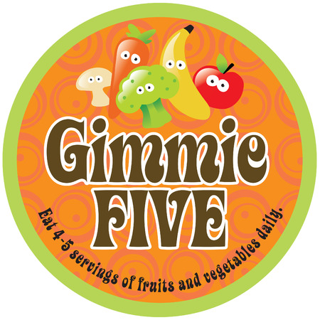 button mushroom: Gimmie Five Promo StickerLabel with 70s style background Illustration