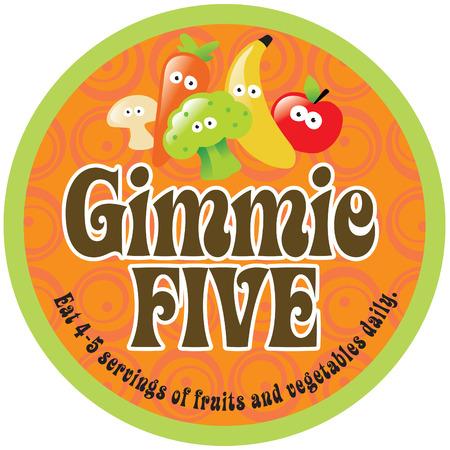 Gimmie Vijf Promo Sticker  Label met 70s stijl achtergrond