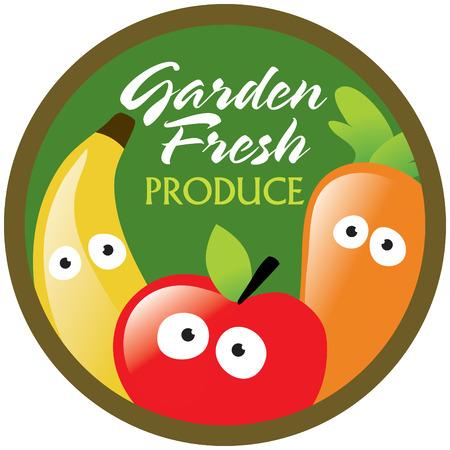 platano caricatura: Jard�n de productos frescos etiqueta  pegatina Vectores