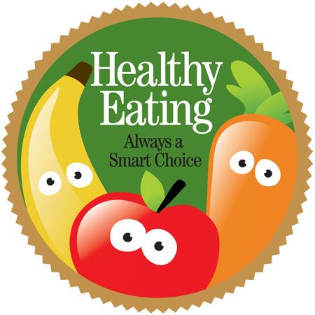frutas divertidas: Ronda de Alimentaci�n Saludable Etiqueta (A�ada su propio mensaje)