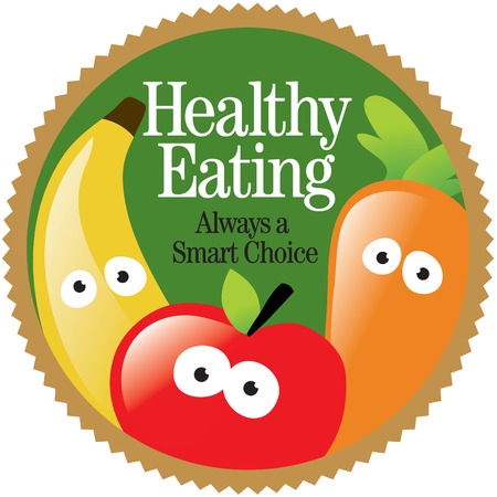 Round Healthy Eating Label (Add your own message) Vector