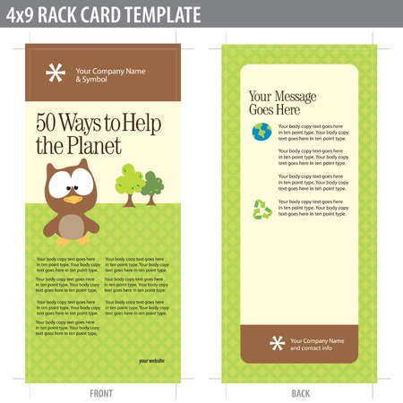 4x9 Two Sided Rack Card (includes crop marks, bleeds and key line - elements in layers)