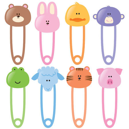 Baby Animal Safety Pins Set 1 Vector