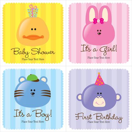 4 가지 모듬 된 아기 카드 (1- 아기 발표, 2- 출생 발표, 1 - 1 생일)