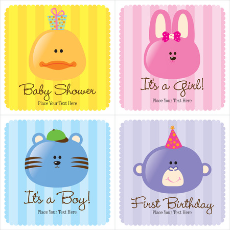 4 Assorted Baby Cards (1-Baby Announcement, 2-Birth Announcements, 1- First Birthday) Vector