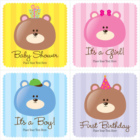 cute bear: 4 Assorted Baby Cards (1-Baby Announcement, 2-Birth Announcements, 1- First Birthday) Illustration