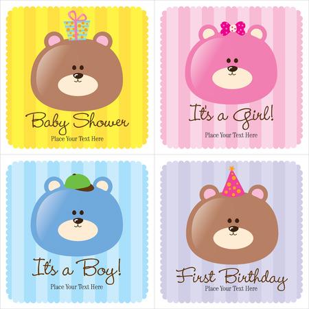4 Assorted Tarjetas para bebés (1-Anuncio para bebés, 2-Anuncios nacimiento, 1 - primer cumpleaños) Foto de archivo - 4658372