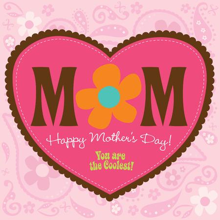 70er Jahre Style Muttertag Card Standard-Bild - 4775899