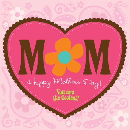 70s Style Mothers Day Card Çizim