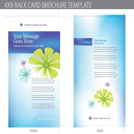 4x9 Rack Card Brochure Template (includes cropmarks, bleeds, and keyline)  Vector