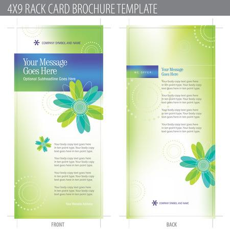 4x9 Rack Card Brochure Template (include cropmarks, il margine d'abbondanza, e KEYLINE - elementi in strati) Pi� in portafoglio