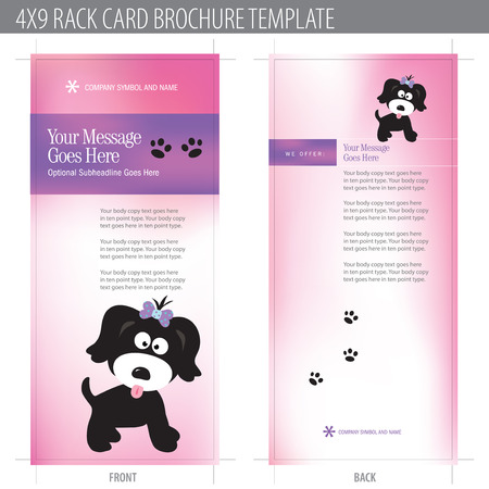 dog school: 4x9 Rack Card Brochure Template (includes cropmarks, bleeds, and keyline - elements in layers) More in portfolio