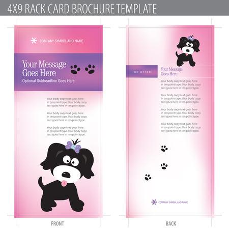 huellas de perro: 4x9 Tarjeta Folleto plantilla Rack (incluye cropmarks, hemorragias, y Keyline - elementos en capas) M�s de cartera