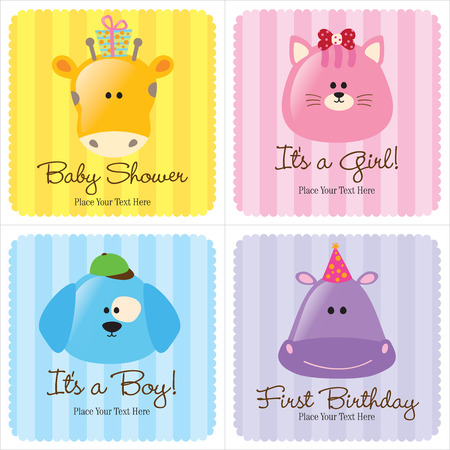 puppy and kitten: Assorted Baby Cards (one baby shower, two birth announcements, and one first birthday) Illustration
