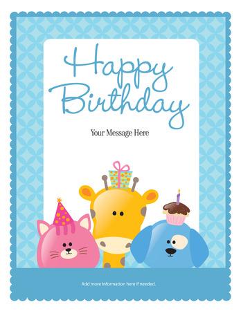 Eerste Verjaardag Card met dieren (meer in de portefeuille)