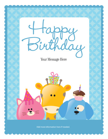 First Birthday Card with Animals (more in portfolio) Vector