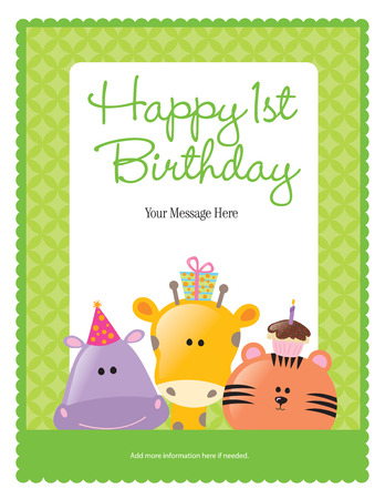 animal border: First Birthday Card with Animals (more in portfolio)