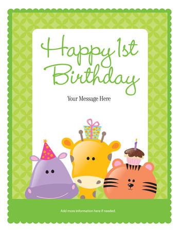 Primo Compleanno di carte con gli animali (pi� in portafoglio) Vettoriali