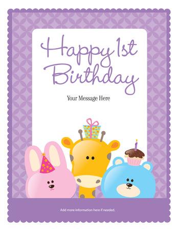 Happy 1st Birthday Card (more in portfolio) Vector