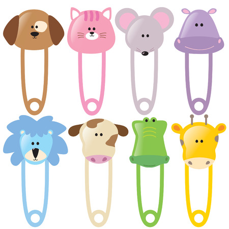 Baby Animal Safety Pins Collection  Vector